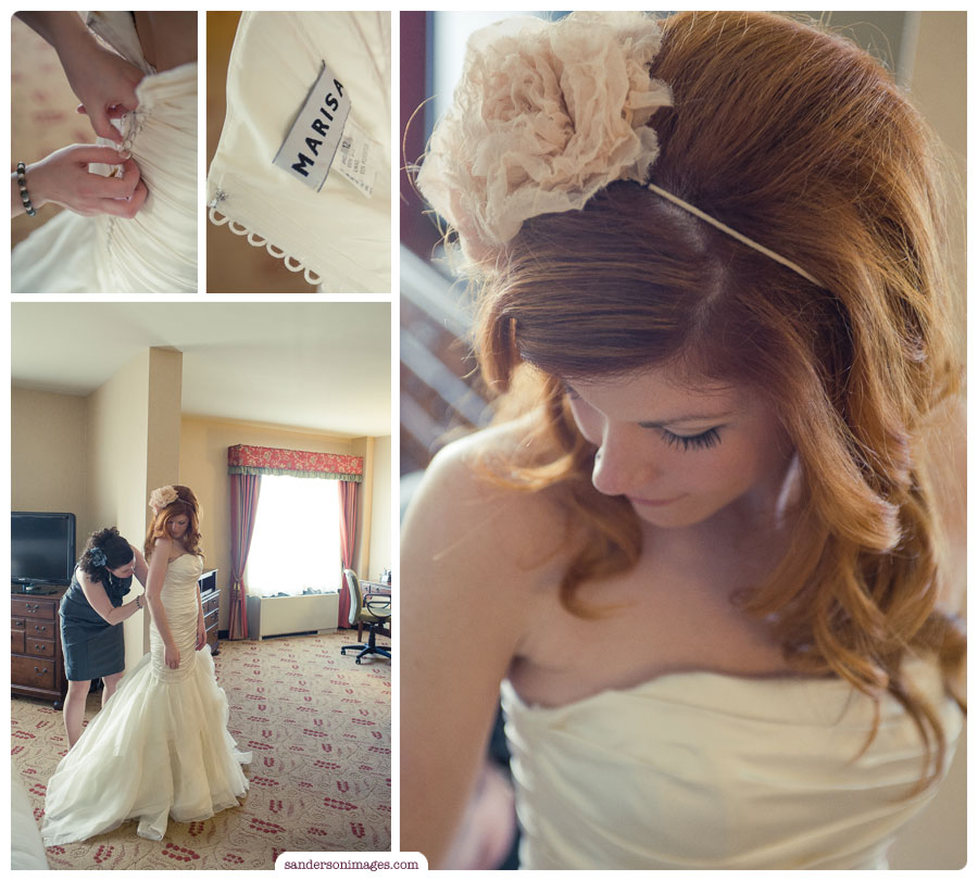 Kate Gets ready for her wedding in her Bridal Suite at Normandy Farms.
