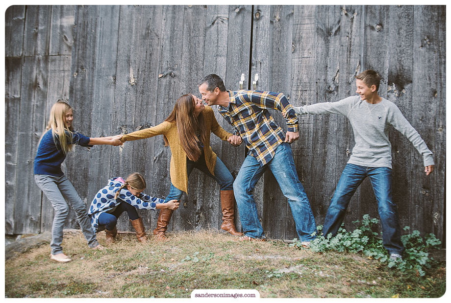 A candid fun family Portrait at a barn in Lancaster, PA
