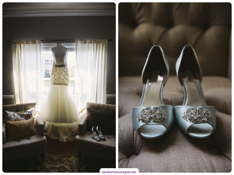 Bridal gown and wedding shoes on display.