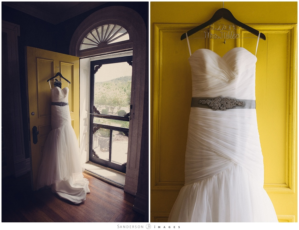 Wedding dress on a yellow door