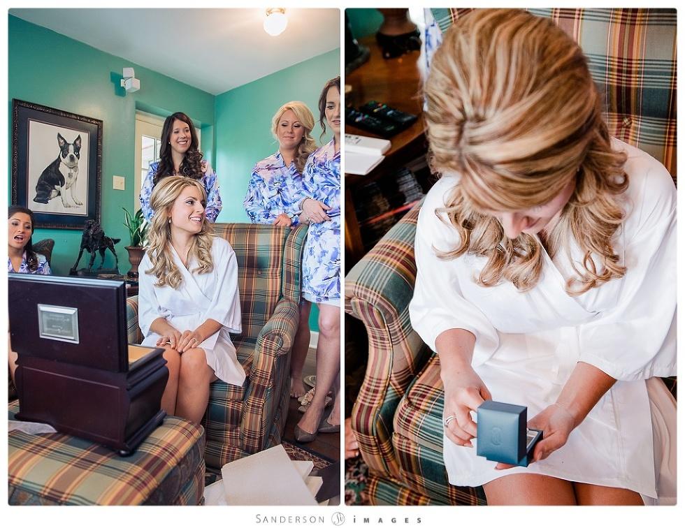 Drumore Estate Wedding, Lancaster, PA Bride opening present